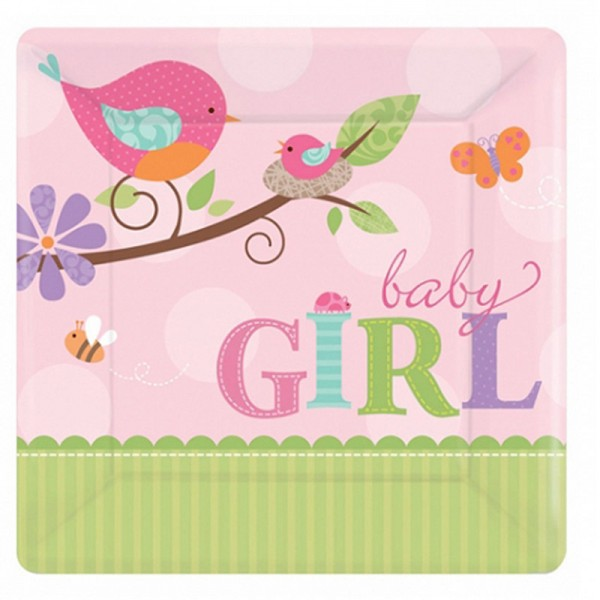 "Pappteller "" Birdy Girl "" 17,5x17,5 cm"