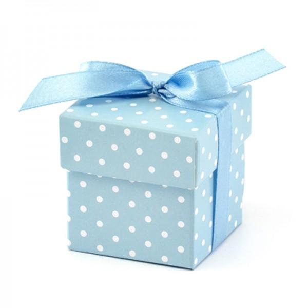 Geschenkebox mit Pünktchen (Hellblau) mit Satinband