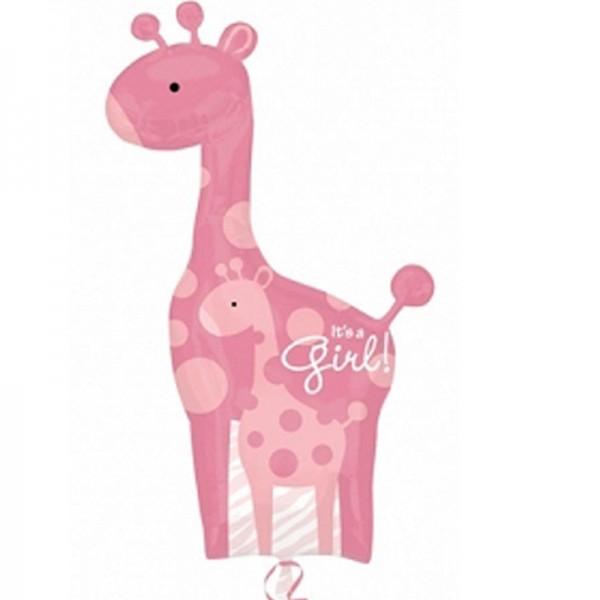 """Folienballon Giraffe """" It´s a Girl """" 107x64 cm"""