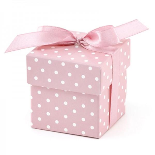 Geschenkebox mit Pünktchen (Rosa) mit Satinband