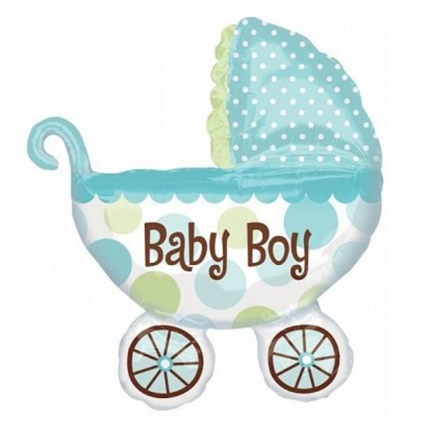 "Folienballon Kinderwagen "" Baby Boy "" 79x71 cm"