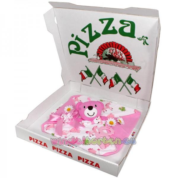 "Windelpizza "" Schmusetuch Teddy "" Rosa"