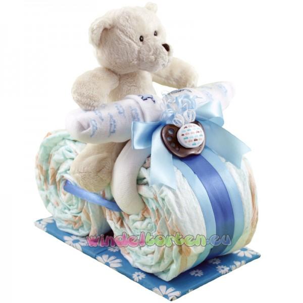 """Kleines Windelmotorrad """" Schmusebärle """" Blau, Rosa oder Braun"""
